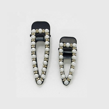 Black color korean carved snap hair clips with pearls and crystal