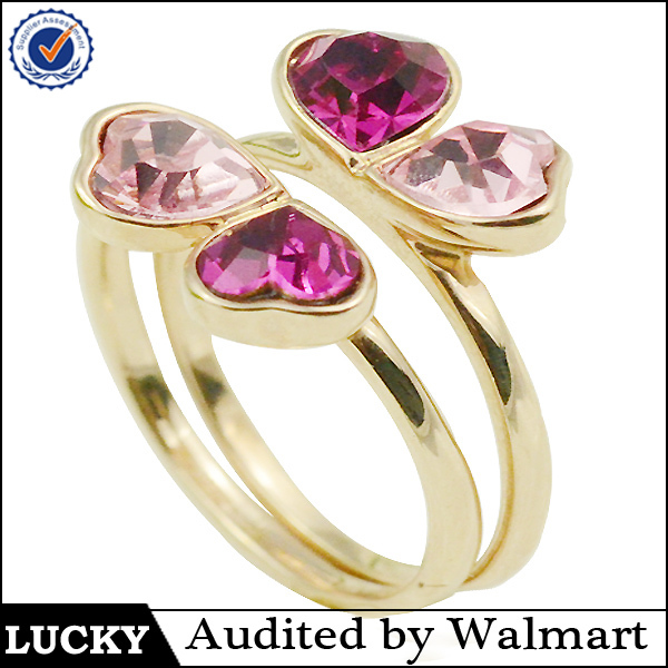 Special design for couples and lover clover gold engagement ring set