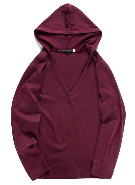 UUYUK-Men Lightweight Casual Solid Baggy Hoodie Pullover T-shirt