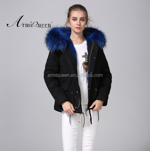 Wholesale Ladies Black Shell Winter Faux Fur Lined,Short Parka ...
