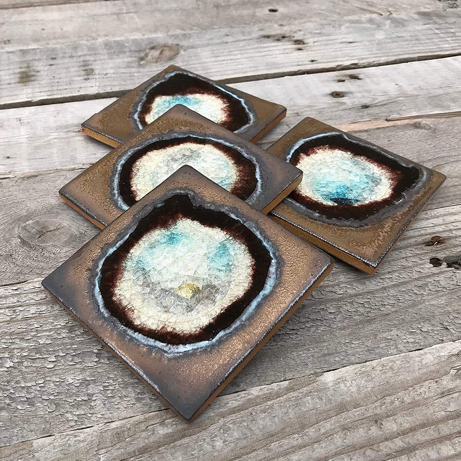 Geode Crackle Coaster Set of 4 in BRONZE: Geode Coaster, Crackle Coaster, Fused Glass Coaster, Crackle Glass Coaster, Agate Coaster, Ceramic Coaster, Dock 6 Pottery Coaster