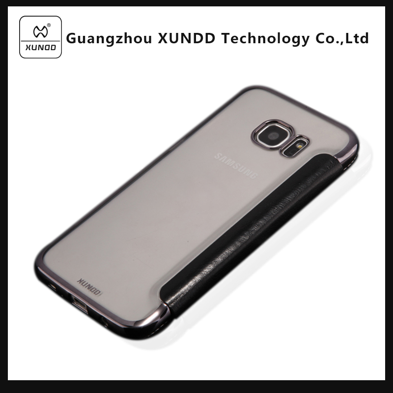 [XUNDD]Best Quality Cell Phone Ultra Slim Hard PC Clear Cover+ PU Leather Cell Phone Case for Samsung Galaxy S7 Edge G9350