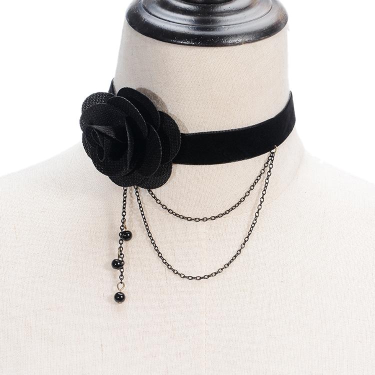 Nouveau Style De Mode Tissu Fleur Bijoux Rose Tatouage Rubis Strass