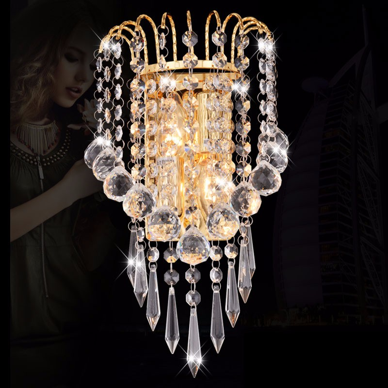Modern indoor gold crystal wall sconce, light fixture in China