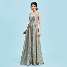 Розовое длинное вечернее платье с открытой спиной и v-образным вырезом, свадебные вечерние платья трапециевидной формы, вечернее платье из ...(Китай)