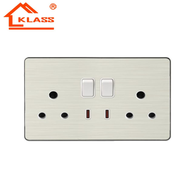 Elektrische wandschakelaar 6 pole ronde outlet Dubbele US 2 gang switch en 15A socket