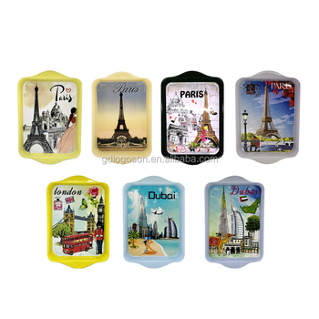 New Design Small Metal Tinplate Tray Custom Paris/London/Dubai Souvenir Rectangular Landmark Serving Trays