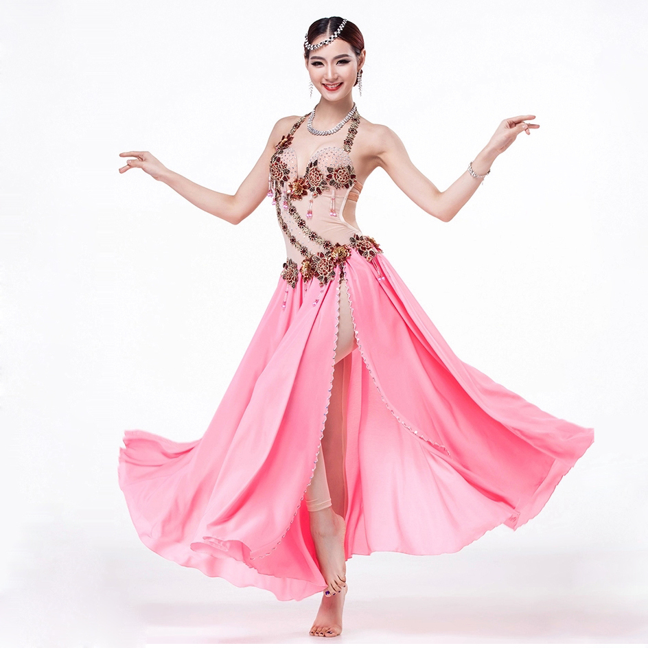 fcb5006ff Get Quotations · Stage Performance Egyptian Belly Dance Costume Set One-piece  Dress Flamenco Skirt Belly Dance Skirt