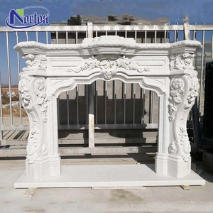 French style white natural stone surround marble fireplace mantel for home use