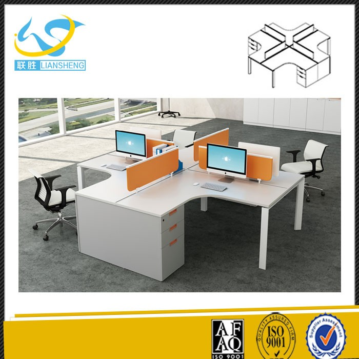 staff desk cubicle for 4 person office partition L shape modular workstation