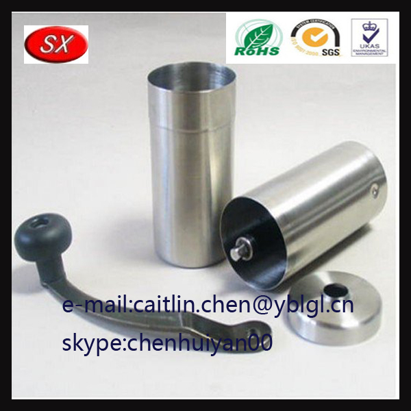 Small stainless seel ploshing Manual coffee grinder tube crank parts