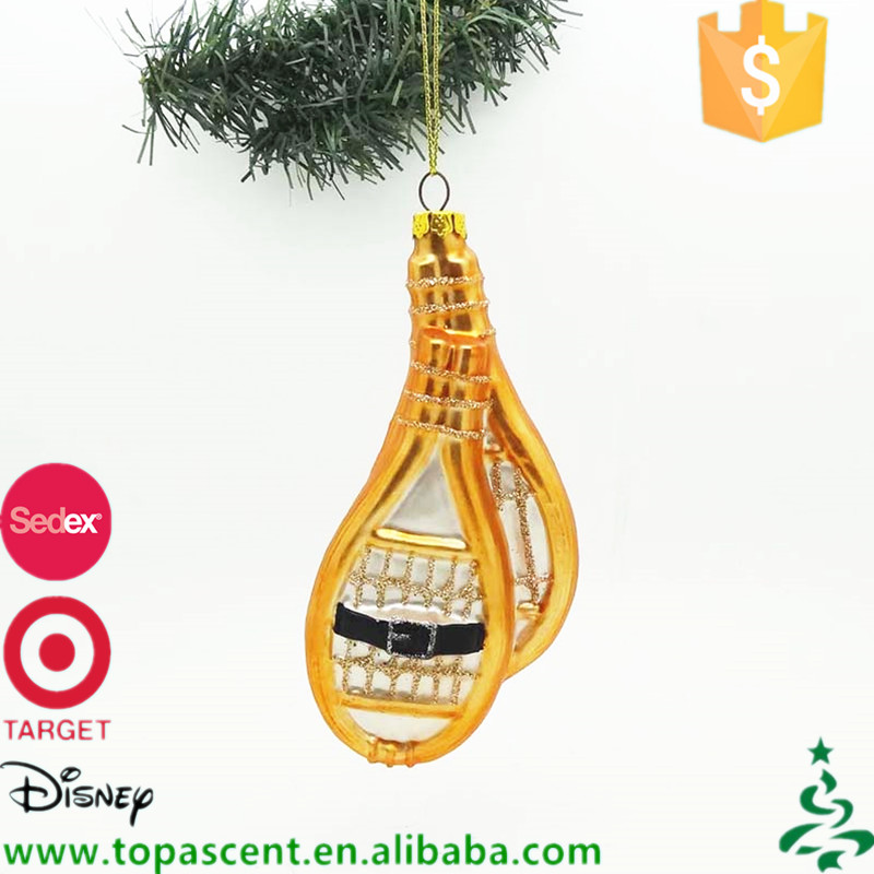 Personalized hand blown glass snowshoes for christmas hanging ornaments