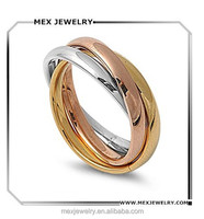 Stainless Steel Tri color Gold Rose Silver Tone Interlocked Rolling Band Puzzle Ring