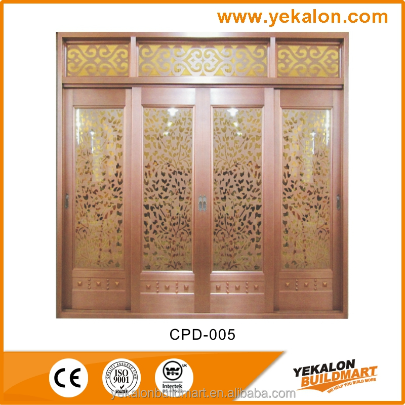 Yekalon CPD-005 fashion design copper finish flat metal door
