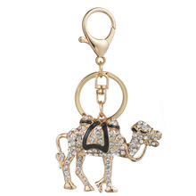 Creative animation camel alloy crystal car keychain