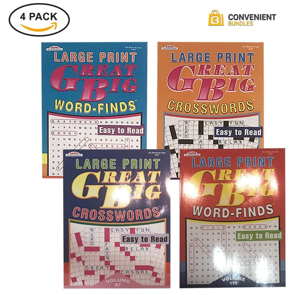 Large Print Puzzles for Adults – 2 Crossword Puzzle Books and 2 Word Search Puzzle Books