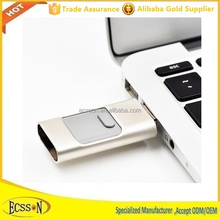 Super mini flash usb drive , 3 in 1 Aluminum USB flash drive with large memory for mobile phones OTG