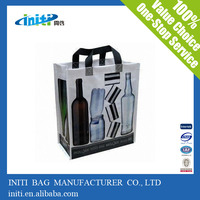 Non woven 6 packed bottles Recycled Wine tote bag with X stitched