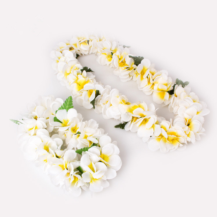 Hot sale hawaiian leis wholesale artificial hawaiian white silk flower lei