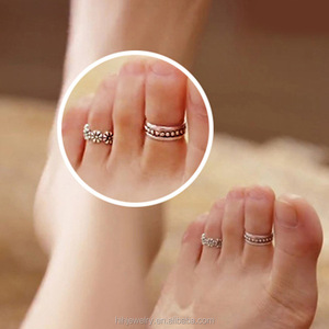 Ladies summer jewelry silver plated toe foot finger ring