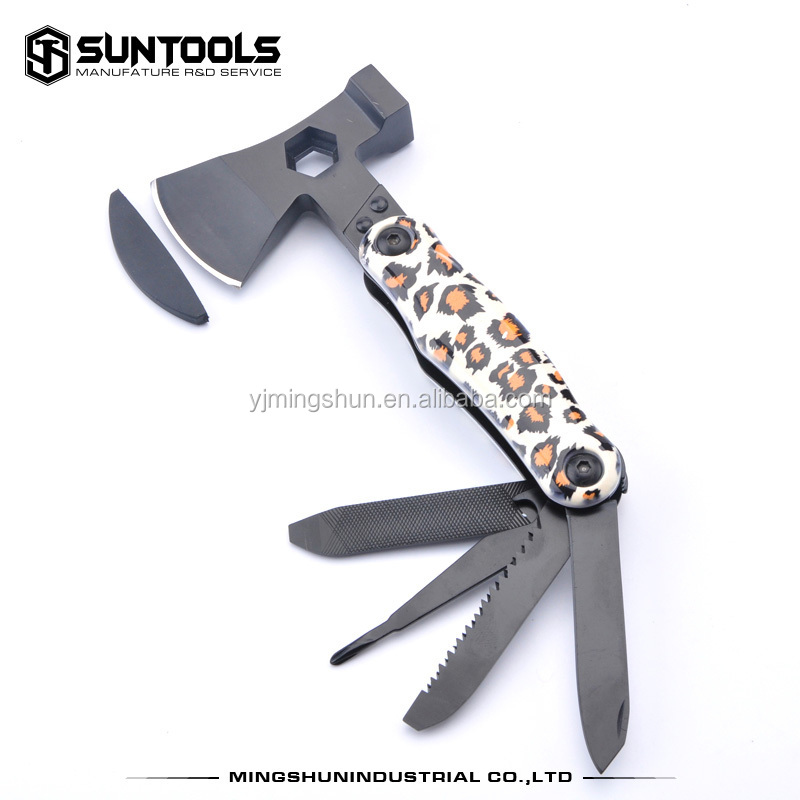 Black oxidation finish and coating aluminum handle multi function tools with axe and hammer