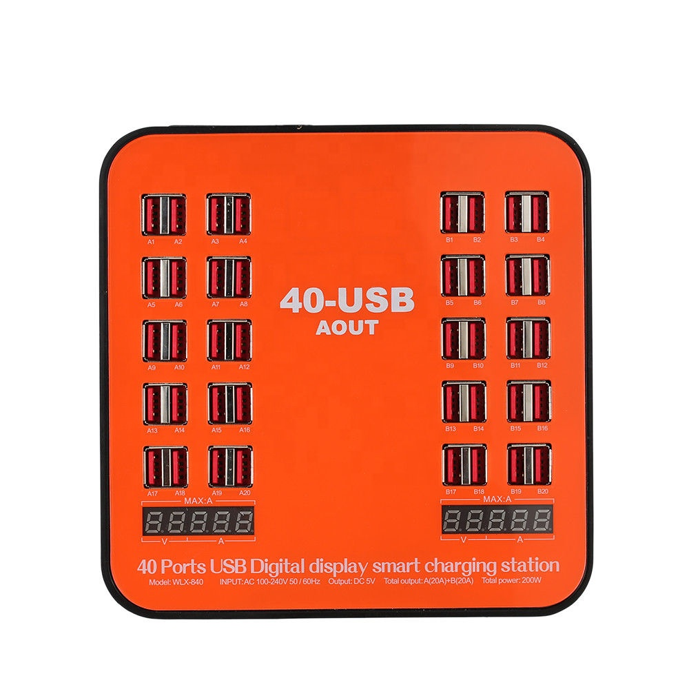 Multi Port 40 Port USB Charger Station 200W 40A Fast USB Charging Dock with LCD Display For Smartphone Tablet