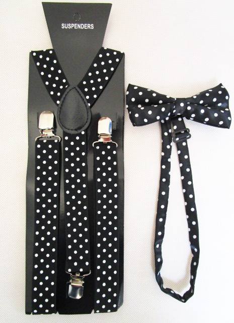 Женщины черный узор в горошек печать галстук-бабочка и брекеты комплект для дамы
