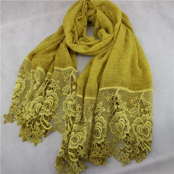New Cotton Hijab Tie Dye Lace Hollow Floral Islamic Shawl Wraps Headband Long Size Muslim Scarf