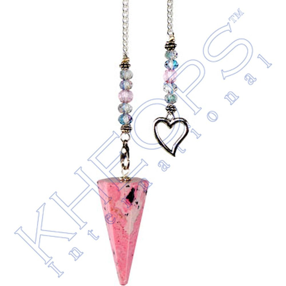 Kheops International - Hexagonal Pendulum Rhodonite - Heart (61068)