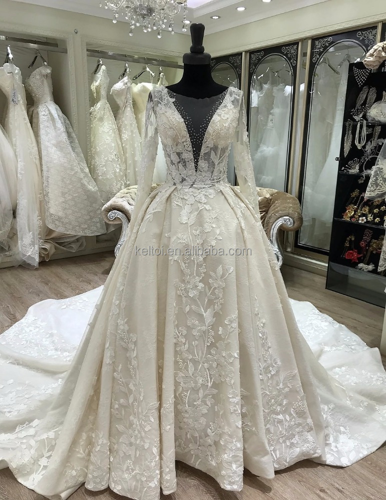 2018 long sleeve pakistani wedding bridal dresses ball gown