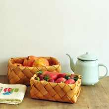 Handmade creative wooden ware fruit basket, egg basket, storage wood chip basket
