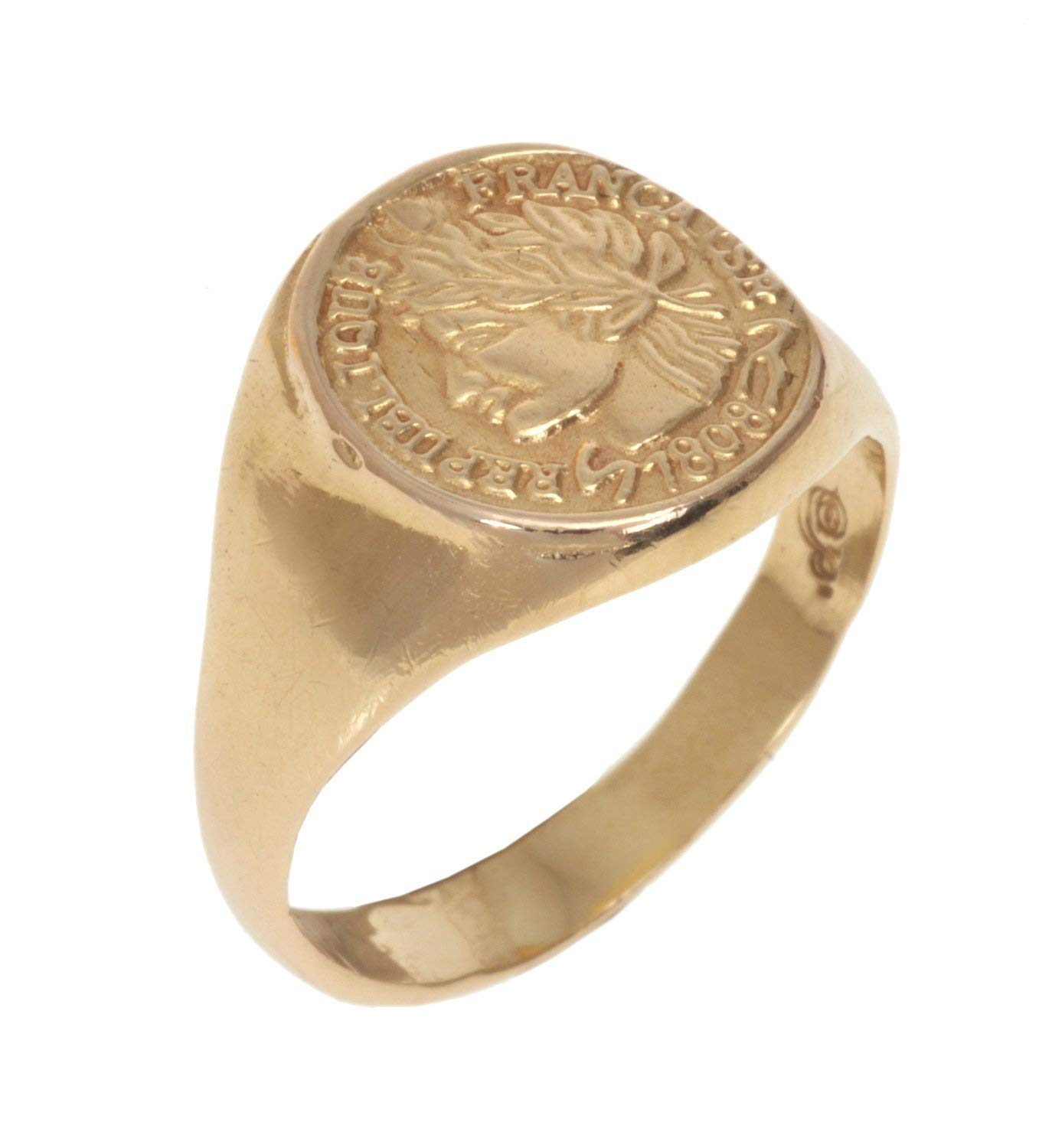 9a46a3ddde Get Quotations · Coin Signet Ring, Handmade French Woman Imprint Seal Ring  made from 14K Gold Plated Brass