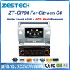 "ZESTECH Factory OEM dashboard Dvd player gps radio 7"" car dvd player for Citroen C4 car dvd player"