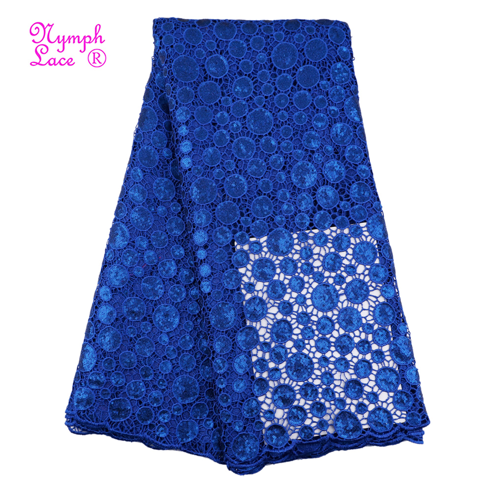 African lace 5 yards royal blue wedding guipure embroidery lace fabric with sequins