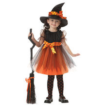 Children Kids Girls Halloween Carnival Witch Suit Costume Cosplay Party Fancy Dress with Hat Bow-knot for Girls fantasia Vestido