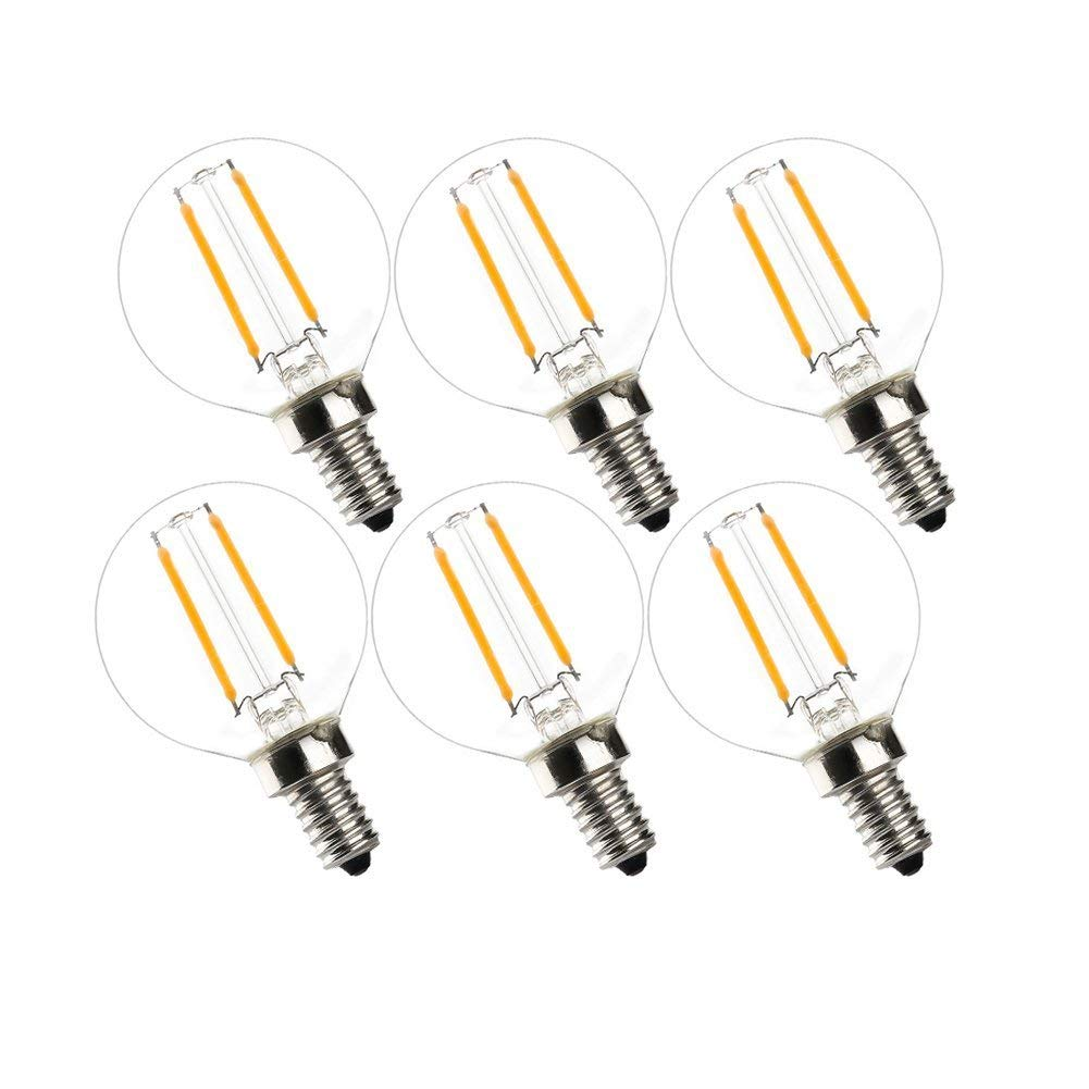 LED Globe Light Bulb G16.5,Great Replacement for 20W Incandescent String Lights,UNCLELIGHT,E12 Base 2.0W 2700K 200 Lumens Edison Light Bulb, 20W Equivalent LED Bulb Lights, UL Listed (6 Pack)