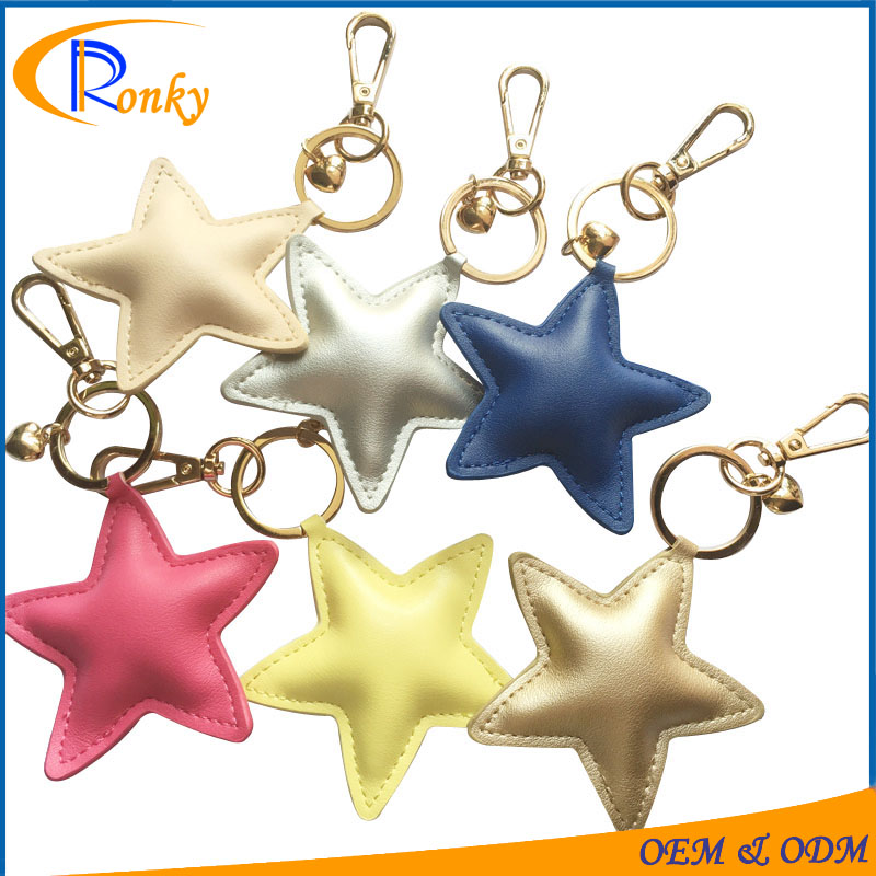 Trendy wholesale bag charms popular gift star shaped leather keychain