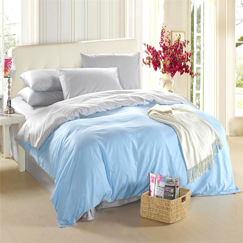 cotton plain double housse de couette comforter bedding set king fashion colorful solid duvet. Black Bedroom Furniture Sets. Home Design Ideas