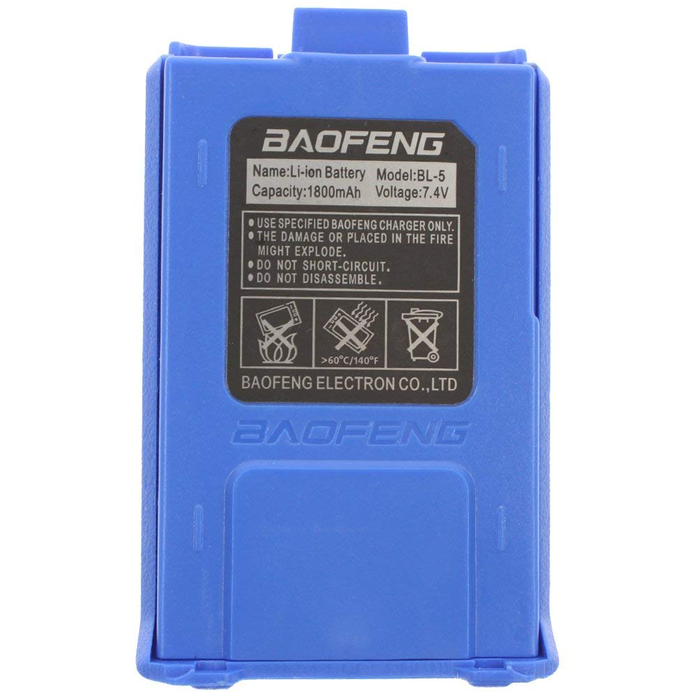 AOER 7.4V 1800mAH Replacement Battery for Baofeng UV-5R Series Radios (Blue)