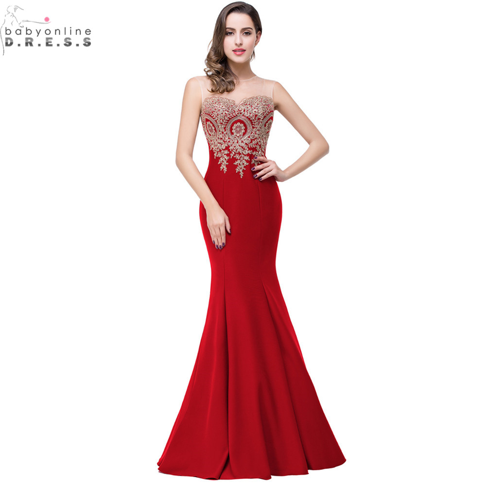acf965dcefb7 Robe de Soiree Longue Sexy Backless Red Mermaid Lace Evening Dress Long  Cheap Appliques Evening Gowns Vestido de Festa-in Evening Dresses from  Weddings ...