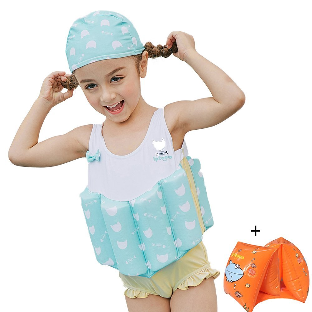 aa55668a0c Get Quotations · LSERVER Kids Girl's Float Suit Floating Swimsuit Kids One  Piece Sleeveless Buoyancy Swimwear