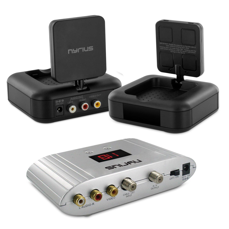 Nyrius NY-GS10 5.8GHz 4 Channel Wireless Audio/Video Transmitter System with Nyrius NRFM100 RF Modulator