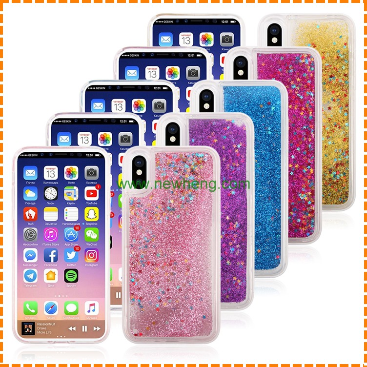 Free Sample Glitter Stars quicksand Hard PC+TPU phone cover For iPhone 8
