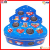 celebrate colored matt tree shape christmas tin box