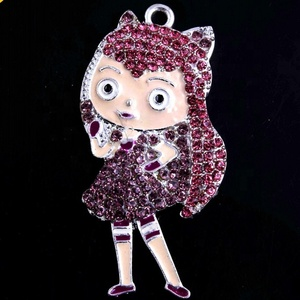 CP-005 Characters Crystal Rhinestone Pendant Bubblegum Charms Pendant for Chunky Kids Jewelry Making 50x25mm