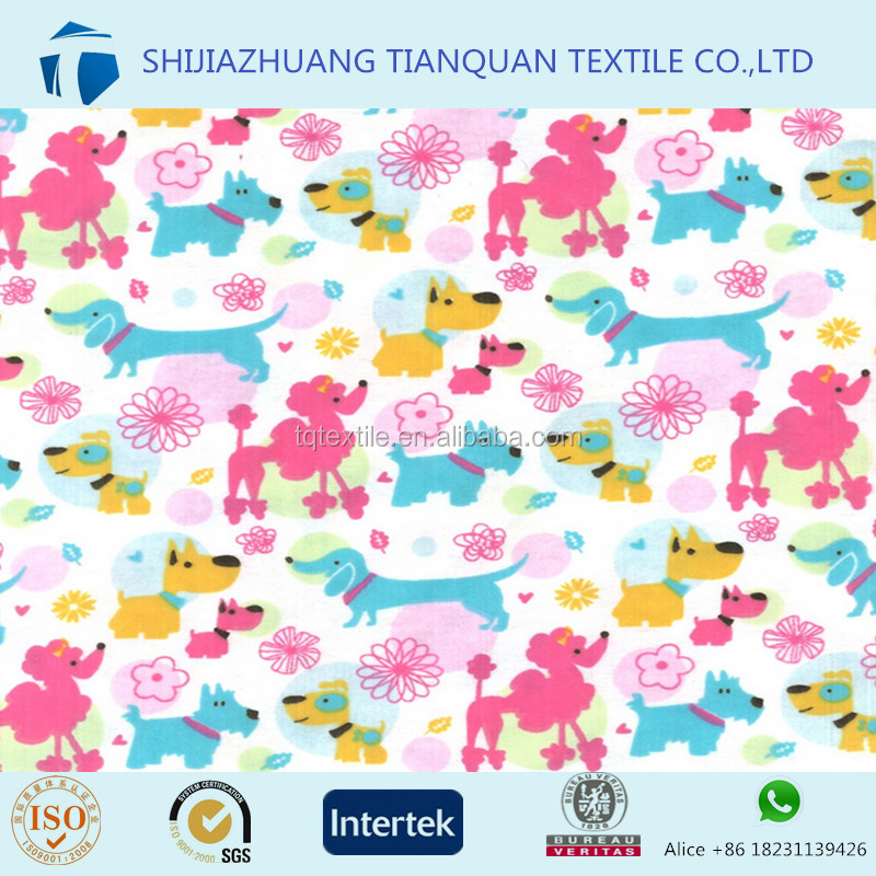 100% Cotton Printed Flannelette - Dogs - Pastel for Nightwear