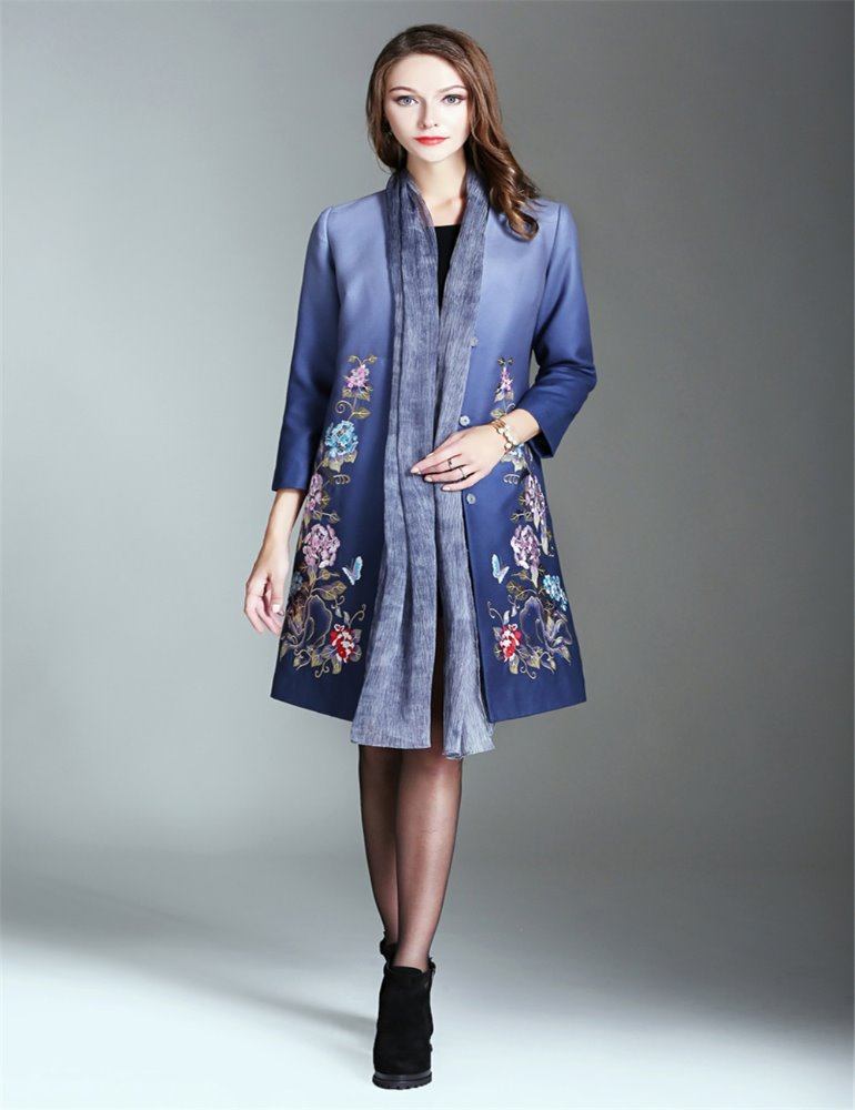 Gradient blue long sleeve latest fashion design embroidered ladies casual dress