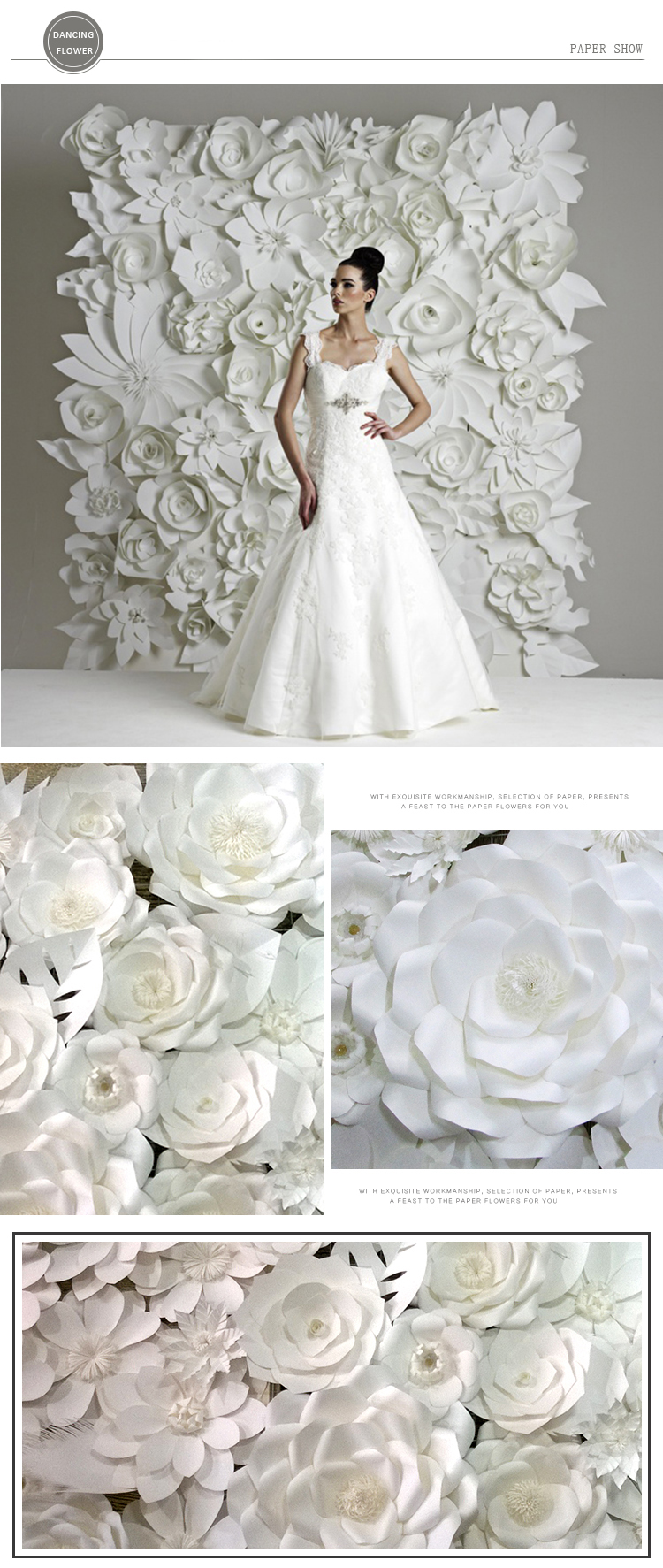 Artificial White Decoration Wedding Flower Backdrop Paper Flowers