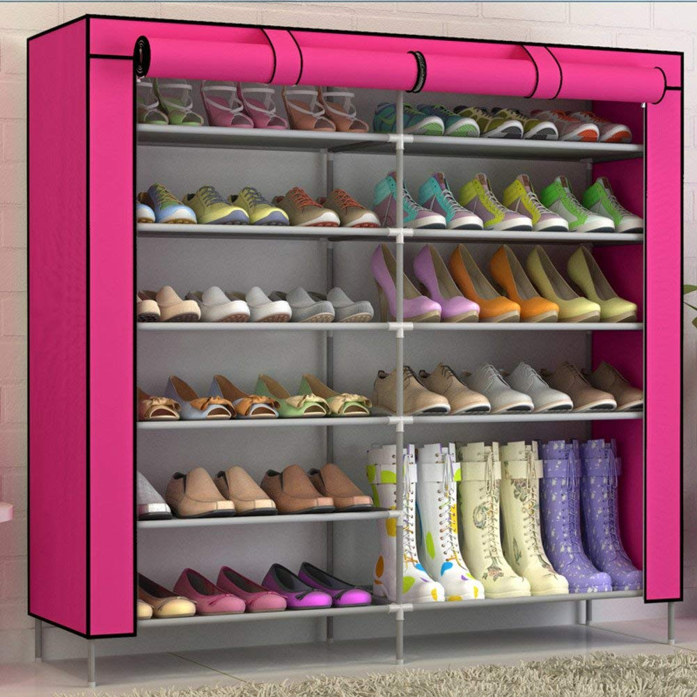 Wangs simple wrought-iron shoe multi-layer Assembly Shoe cabinet Oxford cloth storage dust proof shoes-B