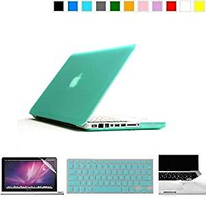 """Applefuns(TM) Hard Shell Case + Keyboard Cover + Screen Protector + Palmguard for Macbook Pro 15.4"""" with CD/DVD Driver(Model A1286)- cyan"""